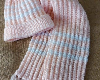 soft apricot color, hat and scarf set