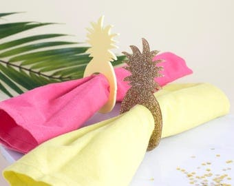 Pineapple Napkin Rings in Yellow or Gold - Party Napkin Rings, Wedding Napkin Rings
