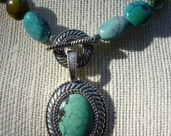 Turquoise And Sterling Silver Necklace And Pendant