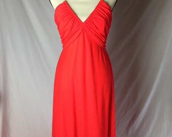 1970s Lilli Diamond Neon Orange Red Dress