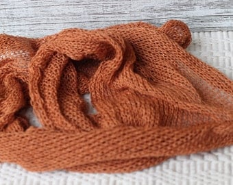 Rust Knitted Wrap, New Born Cotton Knitted Wrap