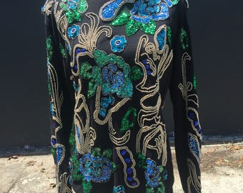 Carducci Sequined Floral Sweater