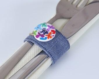 Denim napkin rings, chic napkin rings, set of six