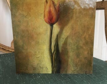 The Tulip Box: decoupage with beautiful greens and red