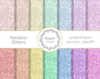 Rainbow Glitter digital paper - Rainbow clipart - Scrapbook paper - Rainbow Digital Paper - Glitter Rainbow Digital Paper, Commercial use