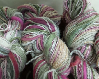 Yarn Skein, Knitting Yarn, Multi- color yarn, Hand-dyed yarn, Wool, Merino, Mixed yarn, Twisted yarn, Fiber, Rose/ Green Yarn, 450-475+yds
