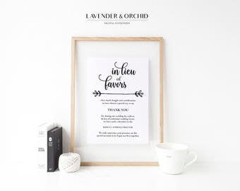 Wedding donation signs, In lieu of favors signs, Wedding favor signs printable, Instant download, Beautiful design, Elegant wedding signs