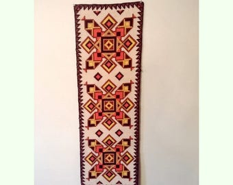 Vintage Handmade Embroidered Table Runner Tapestry Wall Hanging