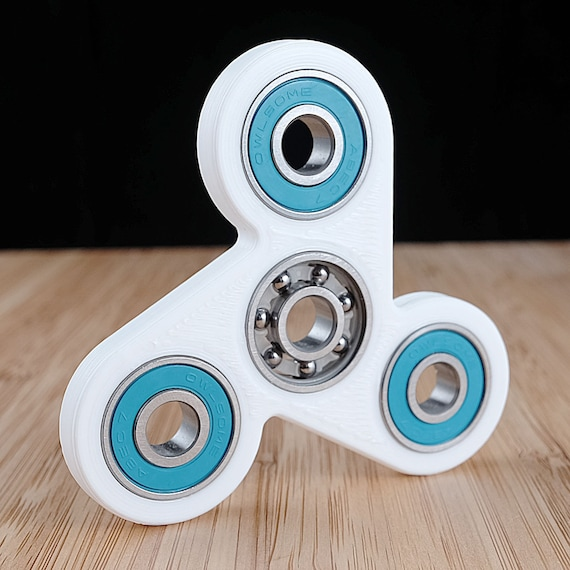 White and Light Blue - Tri-Spinner Fidget Spinner EDC Hand Toy