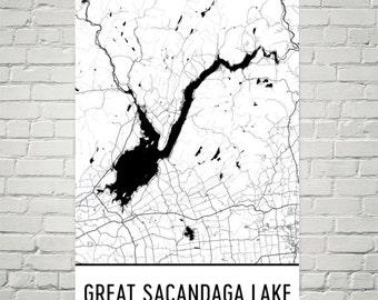 Great Sacandaga Lake New York, Great Sacandaga Lake NY, Great Sacandaga Lake Map, New York Map, Lake Map, Lake Art, New York Art, New York