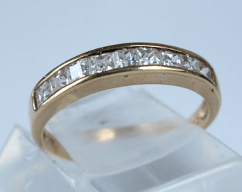 Wedding Ring 14k Solid Gold CZ Cubic Zirconia Marriage Band