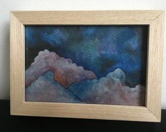 Aquarel 'Clouds', framed