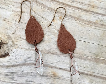 Leather crystal teardrop earrings