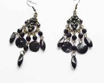 Vintage bronze tone black multibead bohemian earrings