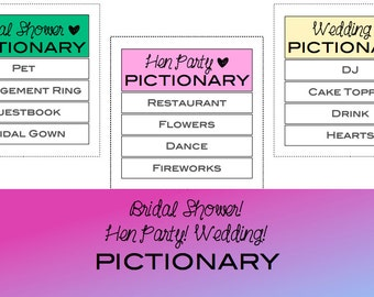 Wedding Pictionary! Hen Party Pictionary ! Bachelorette Party Pictionary ! Bridal Shower Pictionary !