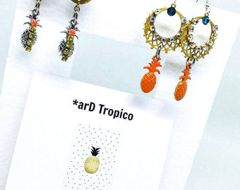 Handmade earrings, Dangle earrings, Drop earrings, Pineapple earrings, Party earrings, Summer earrings, Czech crystals and enamel earrings!