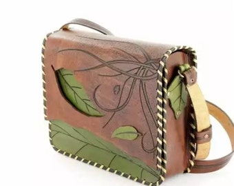 First quality natural leather handmade bag