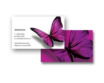 BUSINESS CARD DESIGN - Pre-Made Design - Customized with Your Details! - Butterfly Rose BCD03