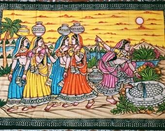 Indischer Wandbehang mit Pailletten bestickt