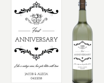 Personalised Anniversary Wine Label - Perfect Engagement Or Wedding Gift -  Choice of Kraft or White Paper