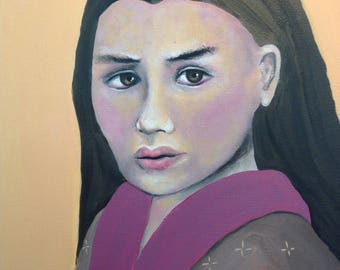 Portrait Of A Woman In Pink And Mustard. Original artwork.