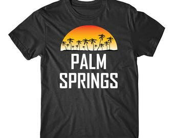 Palm Springs California Sunset And Palm Trees Beach Vacation T-Shirt