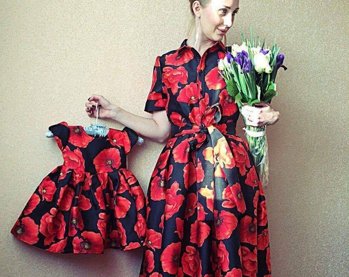 Floral print Mother Daughter matching dress, red long ball dress, Mommy Daughter dress, Mom and Daughter dresses, Family matching clothes