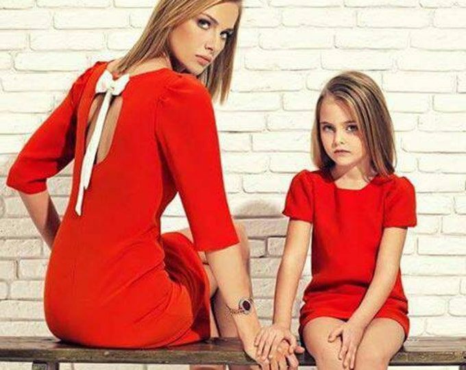 Jersey mother daughter matching midi dress, different colors, Mommy and me knee length dress, Open back dress for mother and daughter