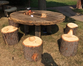 Cable Reel table with log stools
