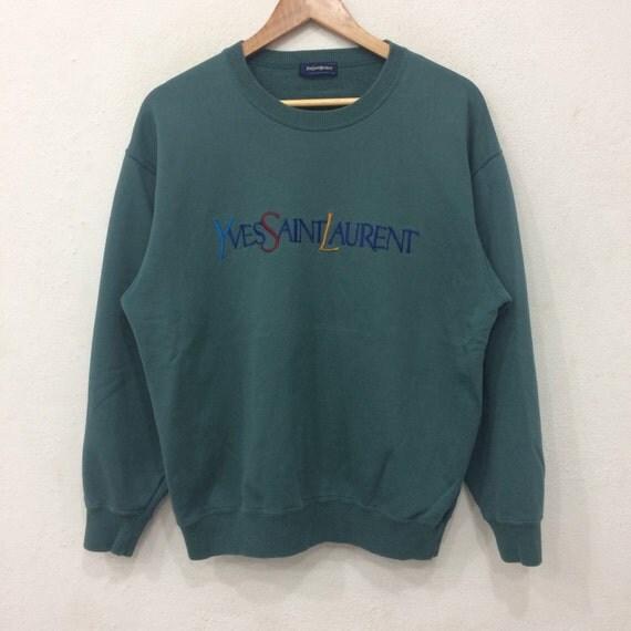 Rare!! Vintage YVES SAINT LAURENT Embroidery Spellout Multicolor Sweatshirt Green Colour