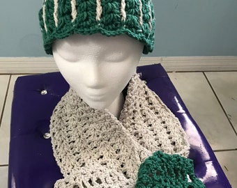 Crochet Hat and Infinity Scarf Set - Green and Cream