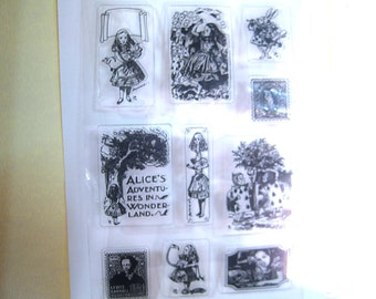 Clear Stamp Set Alice in Wonderland Set 10 stamps