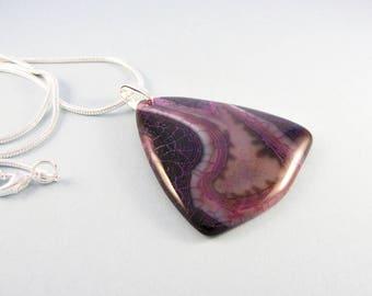 Purple stone pendant / purple agate necklace / unique stone pendant / silver chain