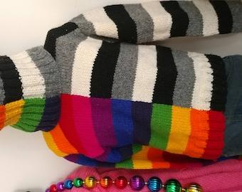 Split Rainbow/Neutral Color Super Wool Turtleneck