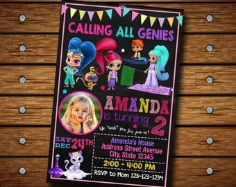 Shimmer and Shine Invitation / Shimmer and Shine Birthday Invitation / Shimmer Invitation / Shimmer Birthday / Shimmer Party / Shimmer Card