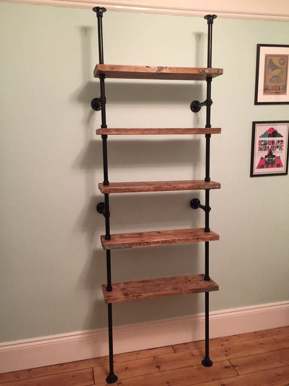 items similar to floor to ceiling reclaimed scaffold board steel pipe shelves on etsy. Black Bedroom Furniture Sets. Home Design Ideas