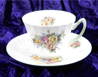 Royal Southerland Tea Cup and Tea Cup and Saucer Pink and Yellow Rose Floral Pattern