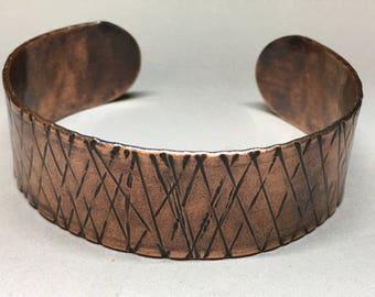 """Men's Hammered Copper Cuff, 1"""" Wide"""