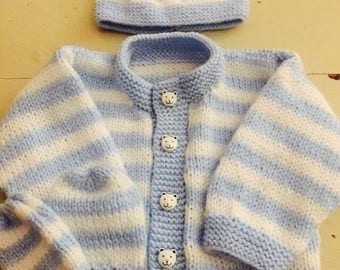 Hand knitted baby boy cardigan, hat & mitts set in blue/cream stripes baby shower gift