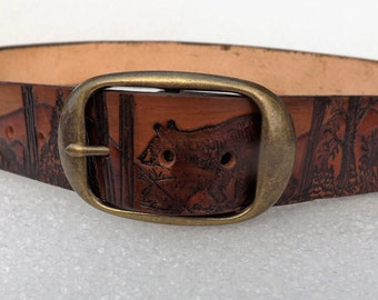 Solid leather Bear belt