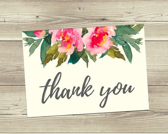 Thank You Card Printable, Floral Thank You Card, Thank You Card 3.5x5