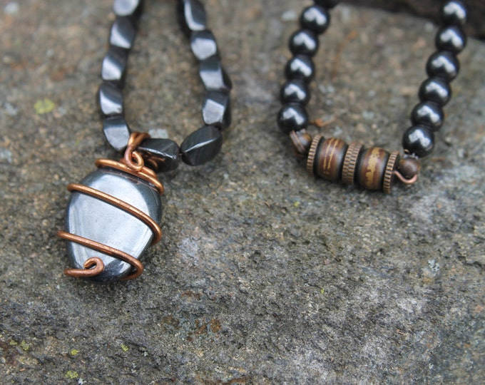 Hematite and Copper 24 inch Beaded Necklace Mens or Ladies Jewelry Gift Idea for Him or Her Dark Silver or Black Necklace Metallic Gemstone