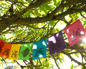 Lino Print Rainbow Flags (featuring original hand carved wish horse design) // Tibetan Style, Outdoor Bunting, Garden Flags, Kids Room