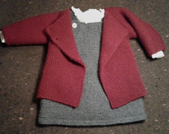 Set of 2 - Handknitted Dress and Cardigan, in Merino wool