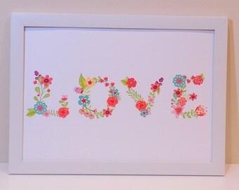 Love Print, Landscape, Love Floral Print, Floral Letter Print