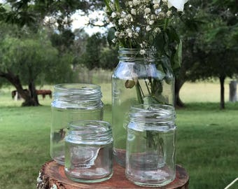4 glass jars all different sizes - Rustic chic wedding decor; Candles,flowers