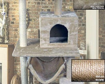 """CT16-BE 59"""" New Style Cat Tree Tower Condo Furniture Scratch Post Kitty Pet House Play Furniture Sisal Pole Stairs and Hammock (Beige)"""