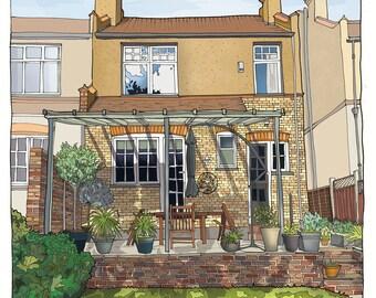 House or Building Portrait, Custom Illustration