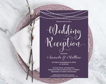 Wedding Invitation Template Download - Wedding Reception Invitation  - Plum and White Wedding Invitation - Downloadable Wedding #WDH0182