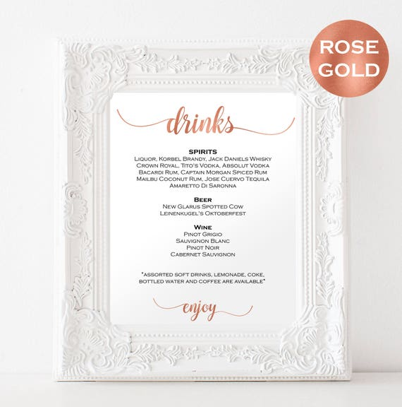 Rose Gold Wedding Bar  Menu Sign